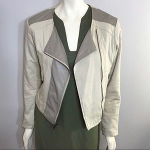 Apt.9 Faux Leather Khaki Multi Media Moto Jacket